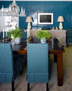 teal dining room | Willow Road | Bardes Interiors