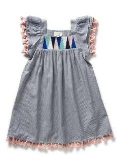 Pinstripe Tassel Dress little dresses, little girls, kids clothes, girls dress tunic, seed, kids fashion, tassel dress, pinstrip tassel, kid clothing