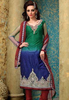 Green and Dark Blue Net Churidar Kameez