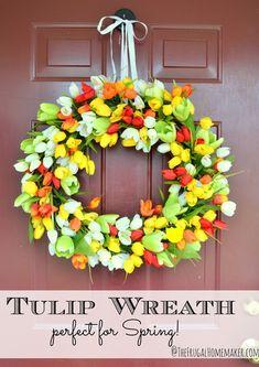 Tulip Spring Wreath (make your own wreath tutorial)