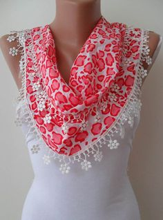 Spring Scarf with White Flowered Trim Edge by SwedishShop on Etsy, $14.90