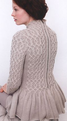 Wavy Peplum Sweater by Jacqueline van Dillen from Creative Cables: 25 Innovative Designs in Debbie Bliss Rialto Yarns