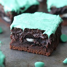 omg oreo stuffed mint chocolate brownie