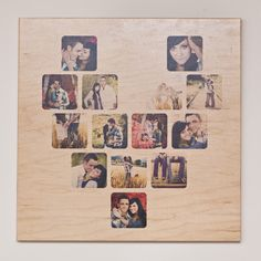 20x20 CollageBoard - 14 image Heart.  $145    Custom wooden board with your photos printed directly on to the wood in the shape of a heart.