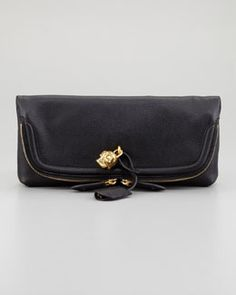 V1BDM Alexander McQueen Skull Padlock Fold-Over Clutch Bag, Black