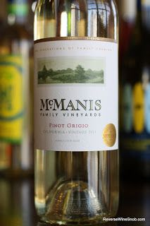 McManis Family Vineyards Pinot Grigio 2011 - One Pleasant Pinot. A standout in the crowd of under $10 Pinot Grigio.  http://www.reversewinesnob.com/2013/02/mcmanis-family-vineyards-pinot-grigio.html