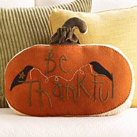 Be Thankful pillow with pumpkin & crow