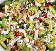 Power salad - Delicious. chicken, avocado, pine nuts and feta <3