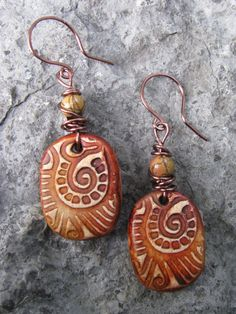 Mixed Media Rustic Boho Polymer Clay Tribal by SpontaneousSoul, $11.00