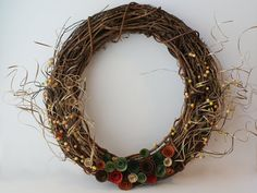 Jewel Tones Autumn Wreath - 18 inch Natural Grapevine