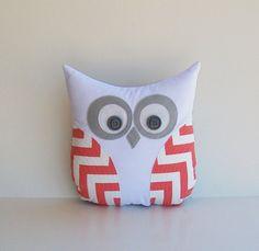 owl pillow chevron
