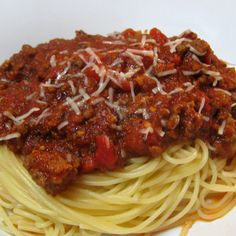 Seriously the most delicious spaghetti sauce ever and all in the crock pot!