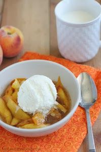 Slow Cooker Scalloped Peaches from Taste and Tell; a delicious slow cooker dessert that makes the most of fresh peaches.  [via Slow Cooker from Scratch] #SlowCooker  #CrockPot