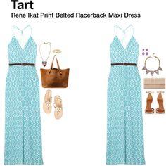 """Rene Ikat Print Belted Racerback Maxi Dress"""