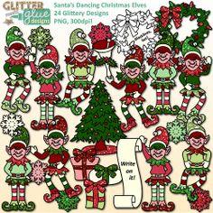 Santa's Dancing Christmas Elves Clipart: Tree, Wreath, Presents & Elf Cuteness! #clipart #graphics #illustration #christmas #edu #tpt #teacherspayteachers #elfonashelf