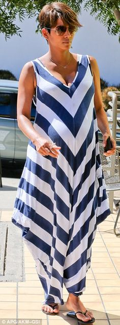 Halle Berry looking glam in her striped maternity maxi dress