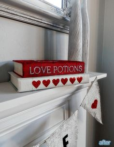 altered books for valentine's day -