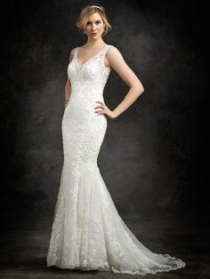 V Neck Mermaid Lace Wedding Dress,Mermaid Wedding Dress With Lace Overlay And Open Back