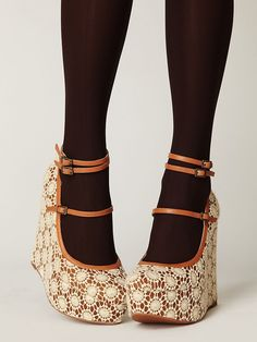 I am confused and enamored by these Crochet Platform Mary-Jane Heels.