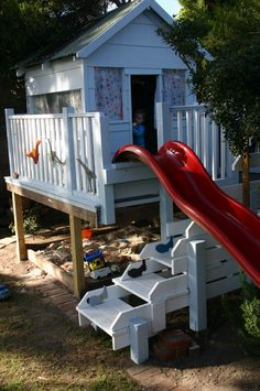 cool decks, stair, sand boxes, tree houses, cubbies, decking, backyards, playhouse slide, kid