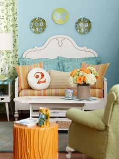 Turn an old bed frame into a charming bench! Here's how: http://www.bhg.com/decorating/makeovers/furniture/diy-furniture-transformations/?socsrc=bhgpin051412=6