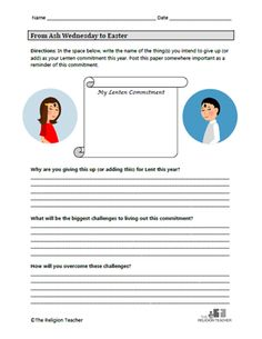 Ash Wednesday Lesson Plan- includes a full set of activities, worksheets, integration with the Ash Wednesday Video, and a short quiz to assess the students' progress
