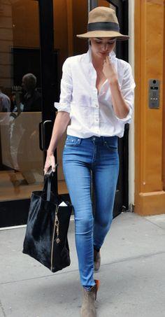 Miranda Kerr | Jeans | White Shirt | Suede Booties | Hat