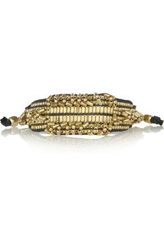 ANTIK BATIK  Elias gold-tone beaded leather bracelet