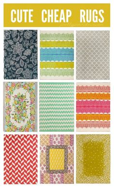 rugs that are cute and cheap enough for a small budget! all less than $100! some as low as $39.00 for a 5x7!! at www.prettyprovidence.com