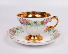 Rosina Teacup and Saucer Fine Bone China Pink Roses Gold Made in England