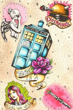 Doctor Who tattoo flash... This as a whole would be an awesome tattoo...<---I agree. This would a great piece all together.