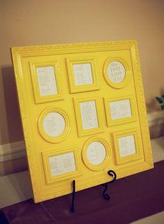 framed seating chart.