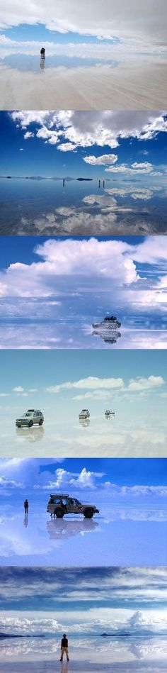 The Border Between Heaven and Earth - Salar de Uyuni Bolivia // World's largest salt flat, located at about 12,000 ft above sea level. During the rainy season, the water turns this place into the world's largest mirror. Tourists are only able to travel to this location via hot air balloon.