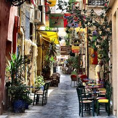 Crete - Chania by Atli Harðarson, via Flickr. This alley is close to the old Venetian Harbour in Χανια.