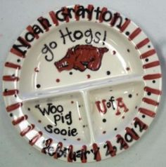 University of Arkansas Razorback Baby Plate and by melaniehewins, $24.99