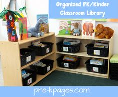 Organized pre-k #preschool or #kindergarten classroom library via www.pre-kpages.com