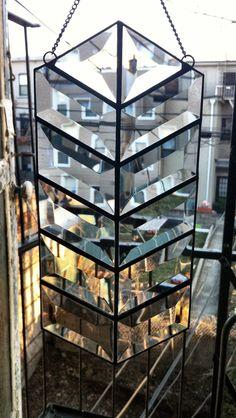Bevel Chevron mod glass prism by HalonaGlass on Etsy