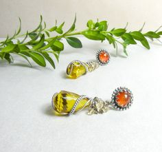 "These are unique and beautiful!  ""Tigerlily""   silver wire wrapped earrings with by MadeBySunflower, Etsy"