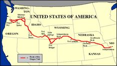 Oregon Trail trail map, american histori, interactive map, maps, pioneer, cycl, educ, oregon trail, west
