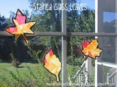 These Stained Glass Leaves are an easy craft to make with your kids and look gorgeous on a window.