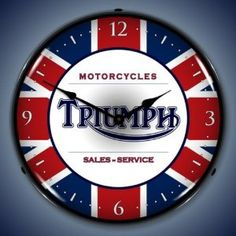 """Collectable Sign and Clock 710123 14"""" Triumph Lighted Clock"""