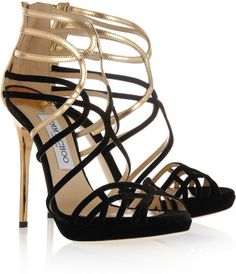 ShopStyle: Jimmy Choo Melvin velvet and metallic leather sandals
