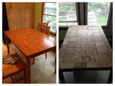 Keeping myself busy! Before and after :) tiled table top!