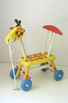 Vintage Playskool wooden ride on giraffe, 1966. Kiddos