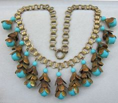 EARLY MIRIAM HASKELL FAUX TURQUOISE & BOOKCHAIN DANGLING BIB NECKLACE