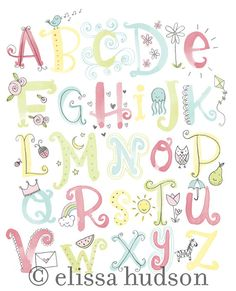Watercolor Illustrated Alphabet Wall Art Print by elissahudson, $22.00