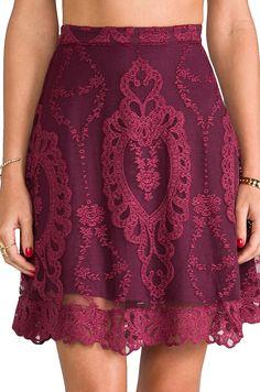 Wine lace skirt