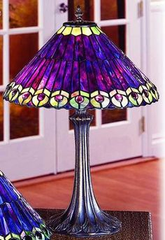 Purple Peacock Table Lamp
