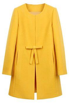 Bowknot Yellow Woolen Coat