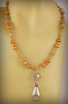 Freshwater Pearl and Agate Necklace with Pewter by BlingbyDonna, $30.00